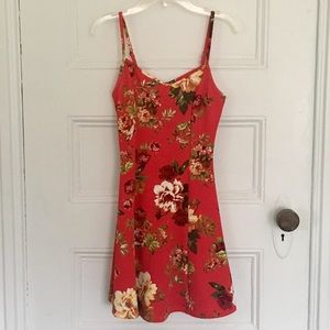 WORN ONCE red floral mini dress